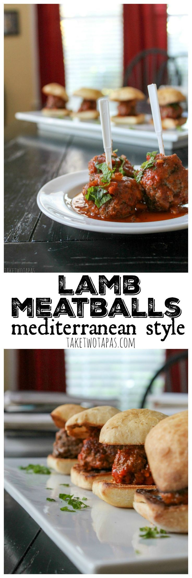 Meatballs aren't just Italian food anymore! These meatballs are made with lamb, Greek seasoning, and cilantro. Cooked in a fresh tomato sauce they are the perfect tapas dish, main course, or party appetizer. Mediterranean Lamb Meatballs Recipe | Take Two Tapas