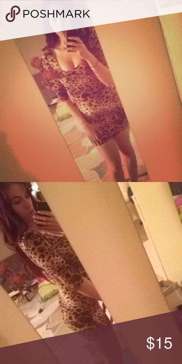 Cheetah Print Bodycon Mini Dress Great for going out dress. Hugs your curves perfectly. Very Soft Material. I suggest for this dress to females 5'5 and shorter. I'm 5'7 and I find this too short for me. Good Condition. Even though this is a Medium, I think anyone who is a S to L could fit. So 4-6. Offers are acceptable! Happy Poshing! Hot Gal Dresses Mini