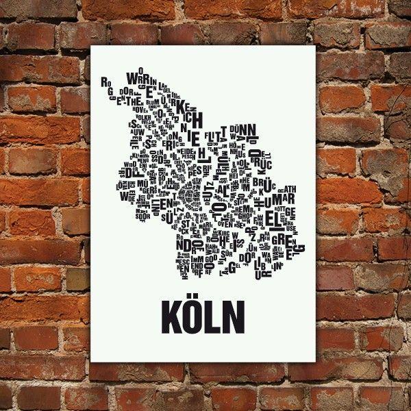 Fresh Buchstabenort K ln Stadtteile Poster Typografie