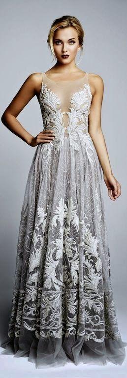Women's fashion | Grey lace gown