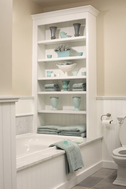 The Beadboard Backed Shelves Pull Double Duty Not Only Do They House Towels And