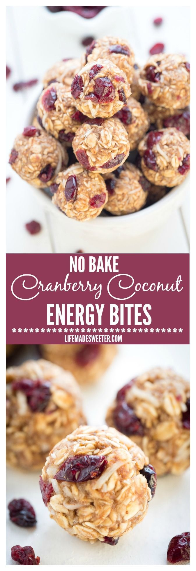 No Bake Cranberry Coconut Energy Bites make the perfect snack on the go and are so easy to make and customize. They make a great vegan, gluten free snack option with NO added REFINED sugar. Pin this clean eating recipe to make later.