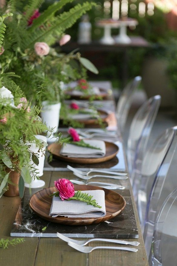 Garden party floral arrangements and table setting
