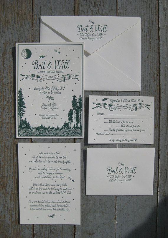 Simply Rustic Perfect Custom Letterpress Wedding Invitation Suite