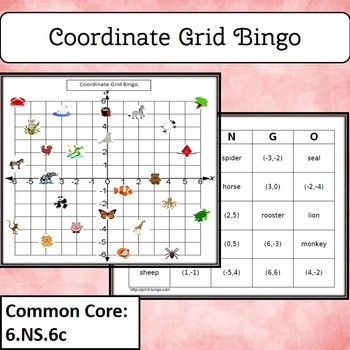 Find locations on the coordinate grid and name a coordinate pair for a location. 30 unique bingo cards and 25 question cards.  Use the bingo game alone or together with the PPT file. Common Core 5.G.1, 6.NS.6c