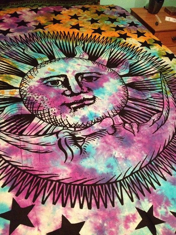 Boho Hippie Tapestry Fabric  Sun and Moon by SticksandStonesHemp1