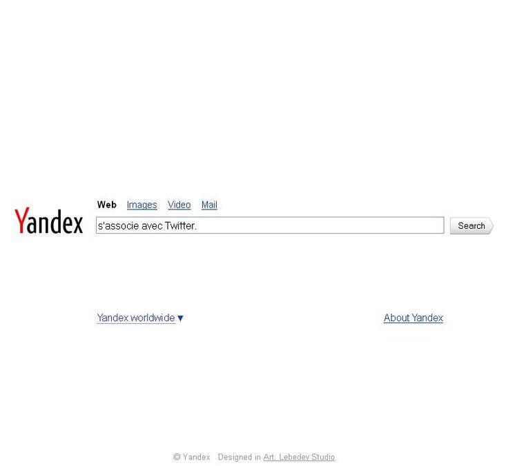 Le réseau social Twitter a signé un partenariat avec le moteur de recherche russe Yandex permettant ainsi aux tweets de remonter dans les résultats de Yandex. Ce type de partenariat existait déjà entre Twitter et Google, le contrat n'ayant pas été reconduit (l'arrivée de Google+ n'y est pas pour rien). Twitter a aussi un partenariat avec Microsoft et son moteur de recherche Bing.