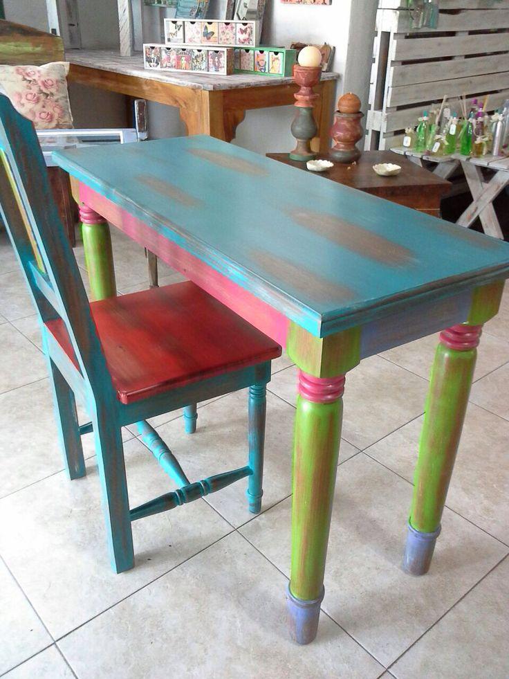 Mesita con silla en roble + decape de colores