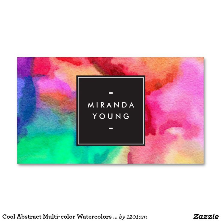 Cool Abstract Multi-color Watercolors Double-Sided Standard Business Cards (Pack Of 100) - Great for creative professionals, teachers, makeup artists, life coaches and more.