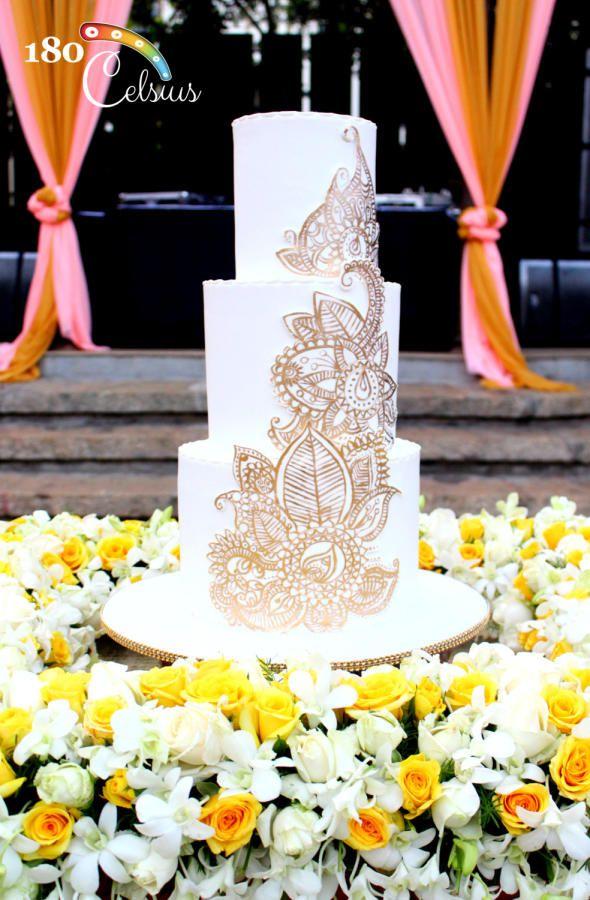 Gold Mehendi Wedding Cake by Joonie Tan - http://cakesdecor.com/cakes/209249-gold-mehendi-wedding-cake