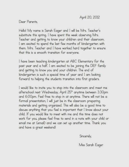 The Eager Teacher: Welcome Letters for Parents