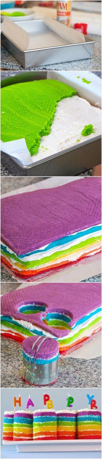 Teeny Tiny Rainbow Cakes - picture tutorial
