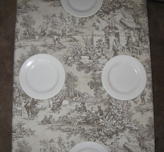 Laura Ashley Brown Toile Tablecloth