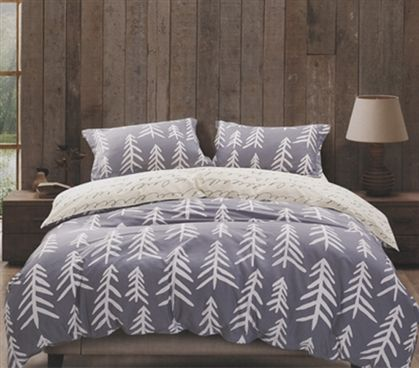 Shop at DormCo for our Aspen Nights Twin XL Comforter Set. This dorm essentials item has a classic style of white sketched trees on a soft gray backdrop to add to dorm decor while adding soft, natural 100% cotton to your dorm bedding for ultimate comfort.