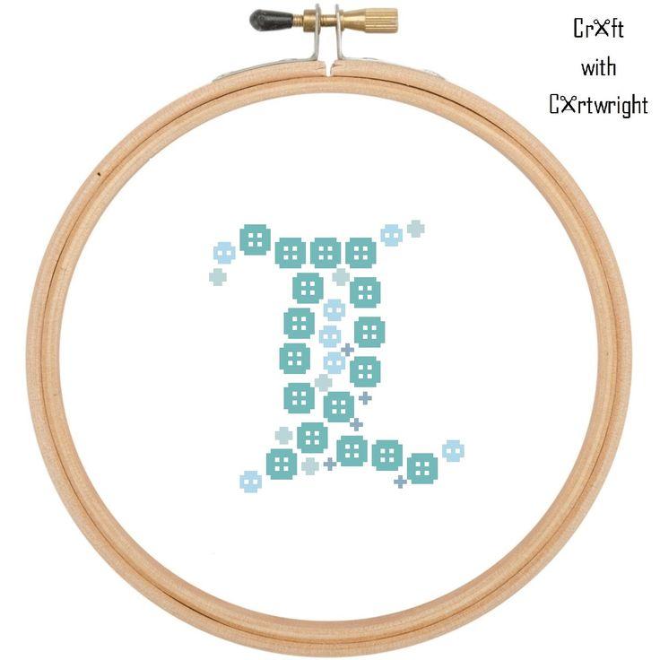 Cross stitch monogram pattern /  Christening gift / Baptism gift / baby boy /Button art / 'L' / cross stitch chart / digital PDF pattern by CraftwithCartwright on Etsy