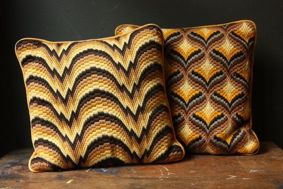 these vintage needlepoint pillows were ahead of their time!  so missoni!