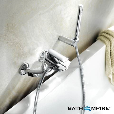 Oshi Waterfall Bath Tap with Hand Held Shower Head - BathEmpire