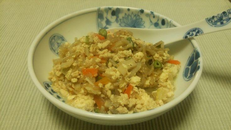 鶏そぼろと蒟蒻の炒り豆腐