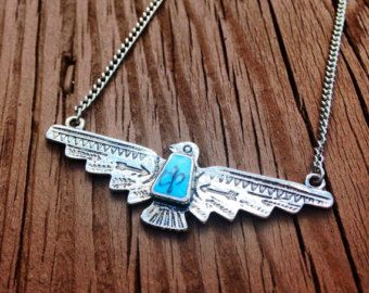 Thunderbird Necklace Native American Necklace Turquoise Necklace Tribal Southwestern Thunder Bird Country Indian Silver Thunderbird Necklace