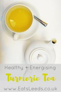 This recipe makes a pot of Turmeric Tea, which has great healing and energising properties of turmeric, ginger, lemon and honey