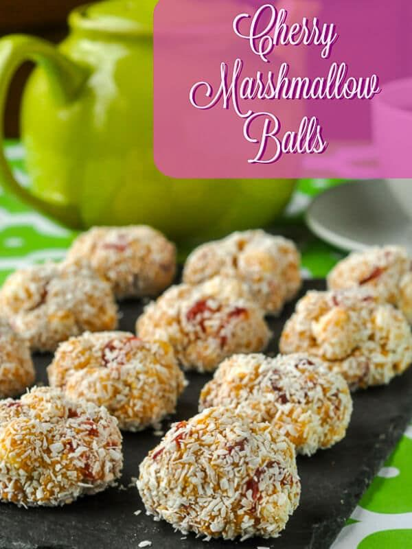 Cherry Marshmallow Balls. An easy no bake recipe using just a few ingredients to make a quick treat whenever you like. Perfect for cookie exchanges! #nobake #nobakecookies #christmascookies #cookieexchange #easycookierecipes
