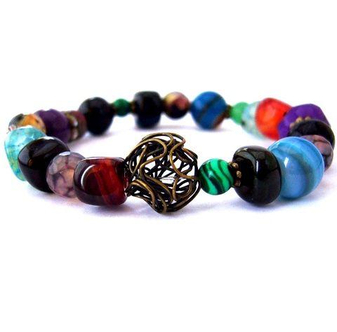 Pillanatok kőből! - színes ásvány és réz karkötő acháttal, lila rubinnal (ButterflyJew) - Meska.hu