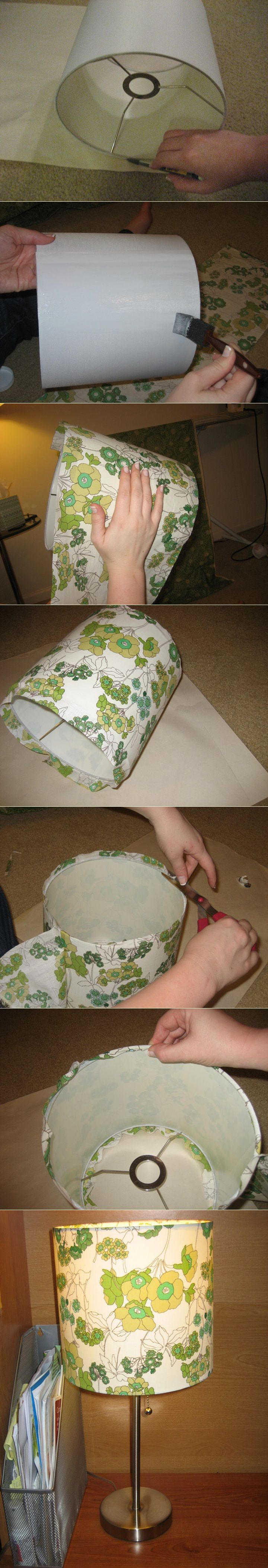 Recover A Lampshade With Fabric DIY