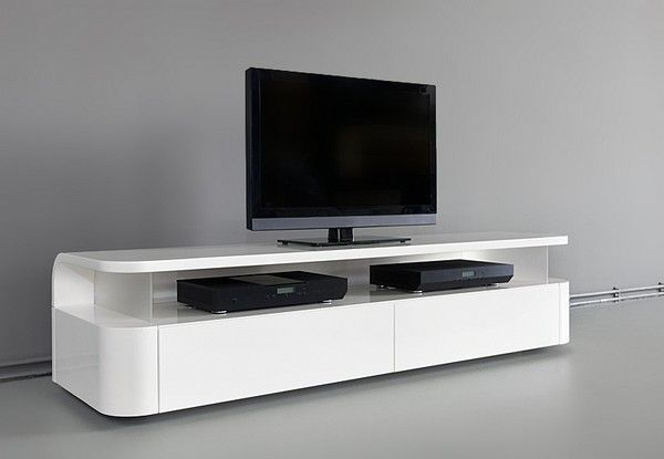 Awesome TV stand with nice curves and a clean, floating feel to it.