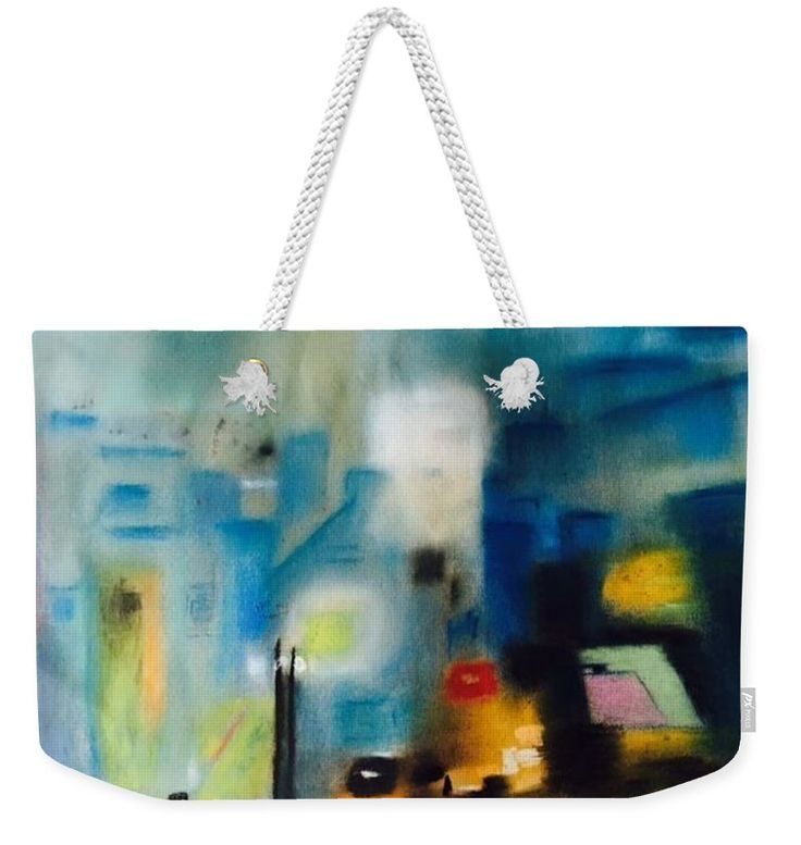 Modern abstract painting on weekender Tote bag. Fine art piece, about original abstract oil painting of Ágota Horváth. Very usefull  bigTote bag for weekend trips or for to the Beac, for You, for your Family or for present to girlfriends. You can order on http://pixels.com different size and with this design other product also - towels, pillow, duvet cover and many more other products. Have a fun!