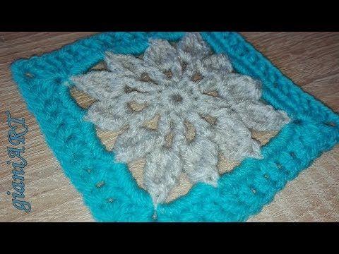 Crochet Granny Square Flower very easy - YouTube