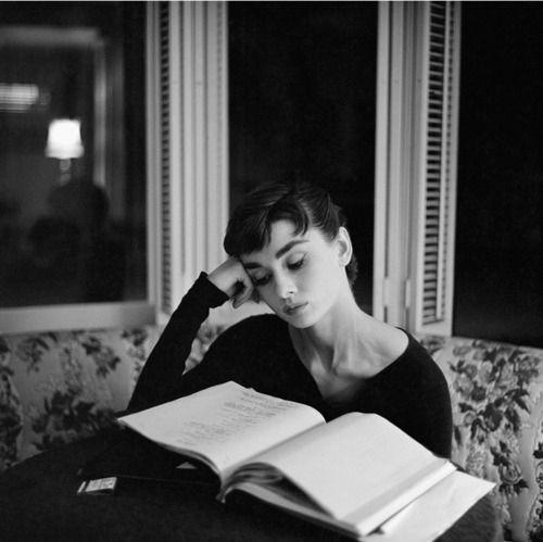 Audrey hepburn,Book,Reading,Vintage - inspiring picture on PicShip.com