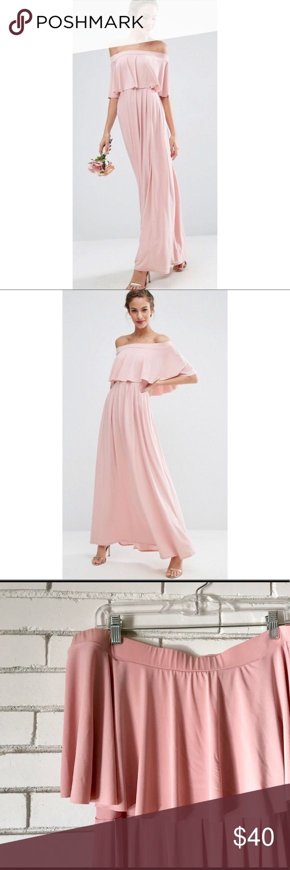 ASOS WEDDING Off Shoulder Frill Maxi Dress WORN ONCE. ASOS baby pink Off Shoulder maxi bridesmaids dress. Very stretchy jersey material, so it's very forgiving size wise. Example I am typically a 12/14, and this dress is a US 8, and I wore it comfortably the entire wedding I wore it for, which is saying a lot for a bridesmaids dress! ASOS Dresses Maxi