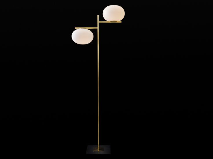 Alba - 383 By oluce, brass and glass floor lamp design Mariana Pellegrino Soto, alba Collection