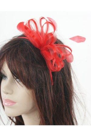 Dames haaraccessoires - Rode haaraccessoire op diadeem met tule/satijn bogen