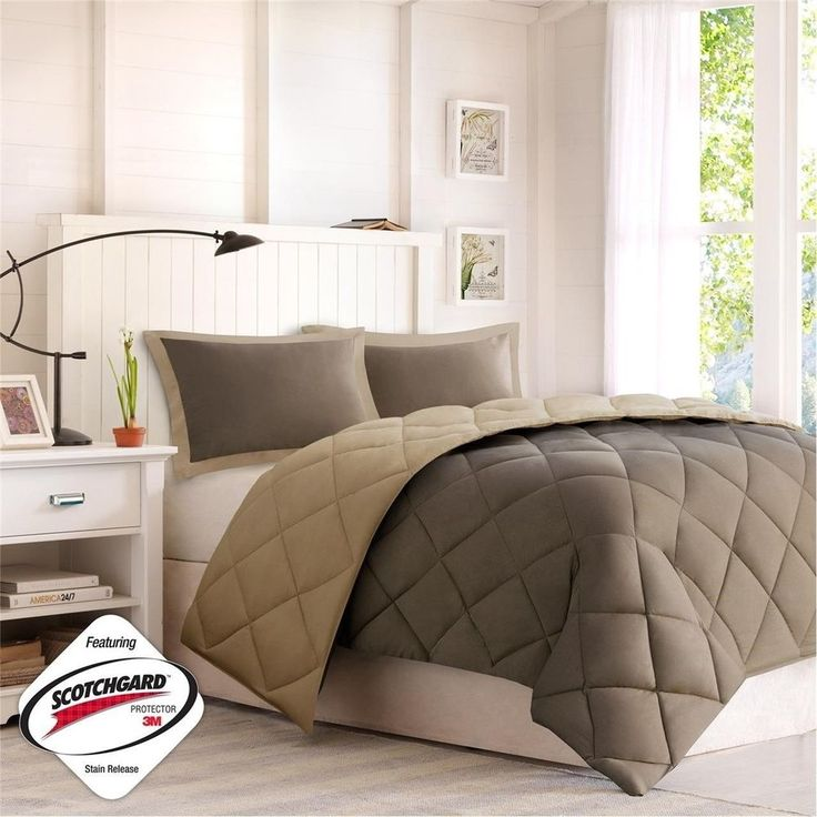 Brown and Tan Microfiber Down Alternative Comforter AND Pillow Shams #ComfortClassics #Modern