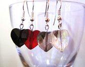 HoT Jewellery - Coloured glass heart-shaped earrings
