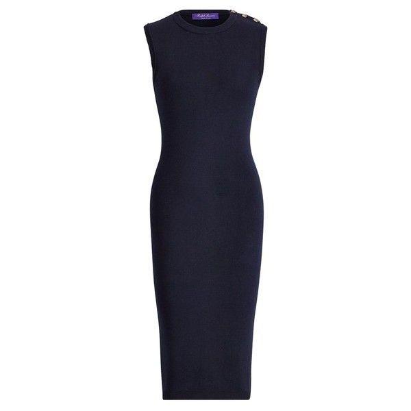 Ralph Lauren Collection ButtonTrim Silk Sweater Dress ($1,290) ❤ liked on Polyvore featuring dresses, multicolor, short, navy blue short dress, short dresses, silk dress, navy blue dress and sleeveless dress