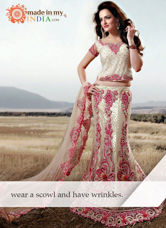 Wear a scowl and have wrinkles. Search Designer Lehenga @ www.madeinmyindia.com Made with love in #India #madeinmyindia #made #with #love #india #ethnic #Wear #fashion #clothing #unique #handcrafted #suits #kurtis #lehenga #Sarees #Bridal #partywear #embroided #wedding #manymore #designclothing #fashionclothing #trends #bollywood