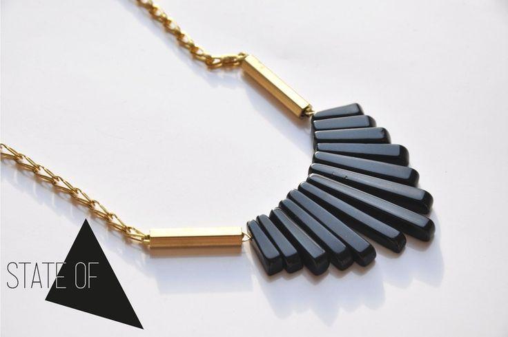Geometrische Kette Fächer Black Onyx Edelstein  von State of A auf DaWanda.com
