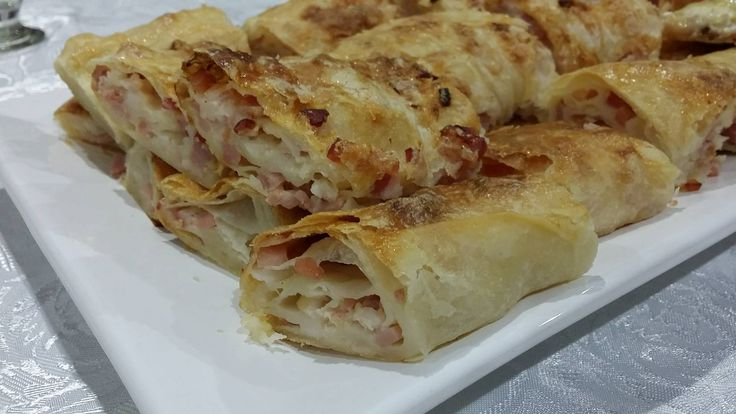 Homemade filo pastry filled with bacon pieces, garlic, cream and a touch of salt.