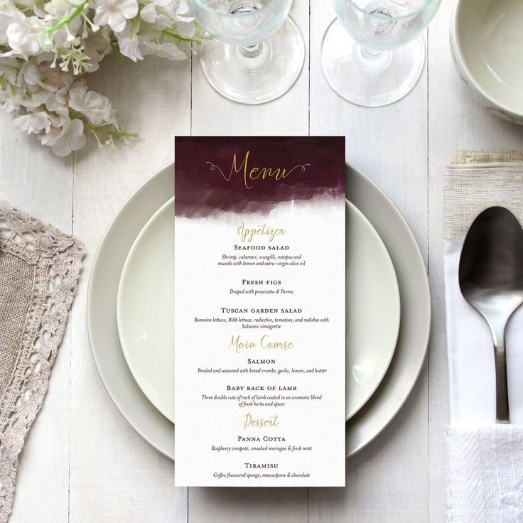 Luxe Watercolour Menu - size  DL - 99x210mm  colours & fonts   Most colours and all fonts can be changed upon request to achieve a truly personal menu for your special day.  printing   Please note that with physically printed event stationery items you must choose a minimum of 24 prints of each design. If you choose a quantity less than 24 you will either be required to pay the difference before the design process is started or you will be refunded your full order amount.