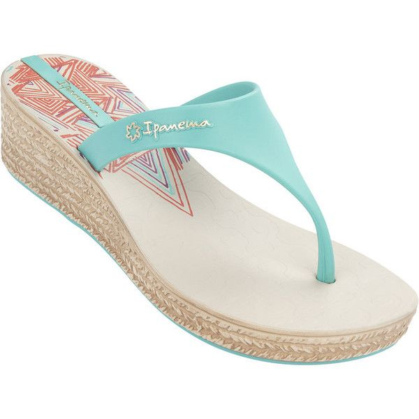 Ipanema Flip-flops - Navajo Plat White/turquoise ($24) ❤ liked on Polyvore featuring shoes, sandals, flip flops, white, patterned shoes, print shoes, flip flop sandals, ipanema sandals and ipanema shoes