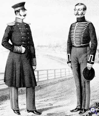 Обер-офицер (слева) и унтер-офицер (справа) Александрийского гусарского полка в рейтузах нового образца, 1814 - 1819 годы.