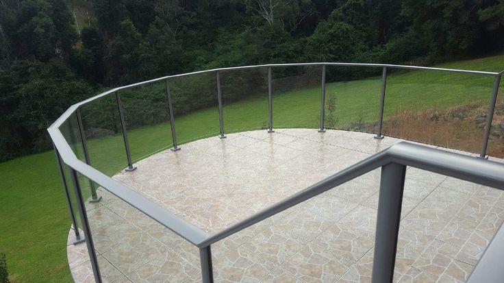 Framed glass balustrade segmented to suit