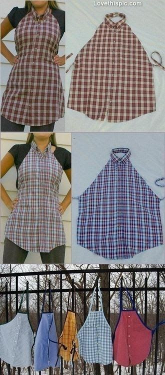 Another great re-use for an old shirt - men's shirt apron! Original tutorial post: http://gabrielsgoodtidings.blogspot.com/2011/10/mens-dress-shirt-repurposed-to-apron.html                                                                                                                                                                                 More