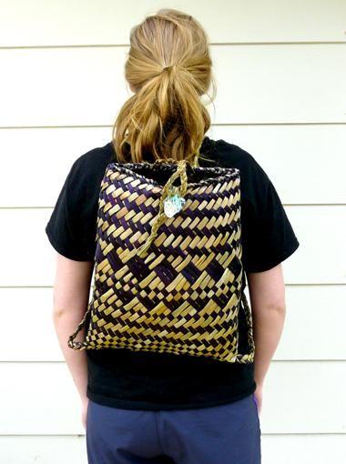 Natural and Purple Maori Kete Backpack