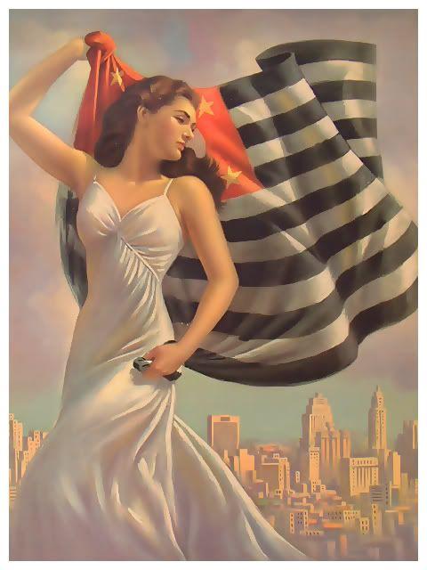 Ilustração de Vicente Caruso para as comemorações do IV Centenário, em 1954. A bandeira da cidade de São Paulo