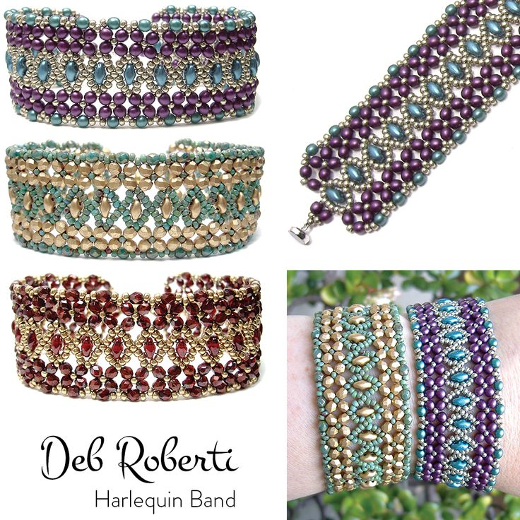 Harlequin Band, designed by Deb Roberti. 11/0 seed beads, 3mm beads and SuperDuo beads.