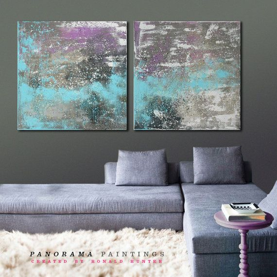 """Landscape Abstract painting -  Combine us with silver - Serie of two - Total size 63"""" x 31.5"""" Panorama Paintings on Etsy, $499.00"""