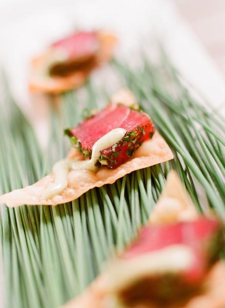 Ahi tuna on wonton chip w/wasabi mayo drizzle